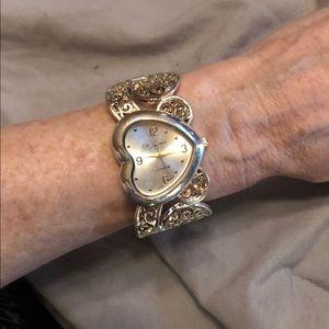 Geneva Platinum series heart bracelet watch 2 tone